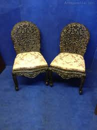 Oriental Chairs Pair Heavily Carved Burmese Oriental Chairs Antiques Atlas