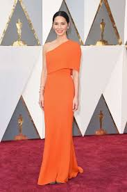 orange dress dress one shoulder munn carpet dress gown oscars