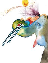 elephant ride watercolor birthday card masha d u0027yans masha