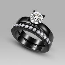 black cubic zirconia engagement rings cubic zirconia engagement ring titanium steel black bridal wedding
