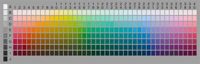 the chart with the full selection of 330 test color chips from
