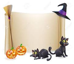 orange black halloween background halloween background scroll sign with witch hat broomstick
