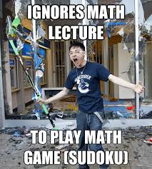 Rebellious Asian Meme - ignores math lecture to play math game sudoku rebellious asian