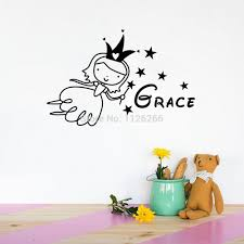 online get cheap wall stickers baby angel aliexpress com custom child name wall stickers cartoon angel creative wall decals for nursery baby bedroom home decor