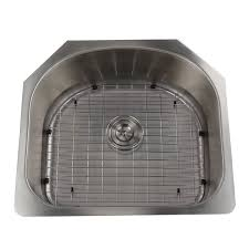 single d shape bowl premium 16 gauge kitchen sink with grid and drain free today com 12386292