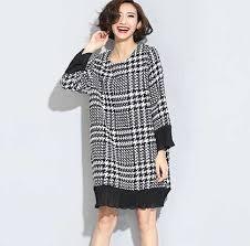 Plaid Cardigan Womens Black And White Plaid Sweater Dress For Women Flounced Long