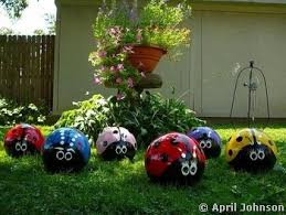 Metal Bugs Garden Decor Upcycle Old Bowling Balls Into Cute Ladybugs For The Garden