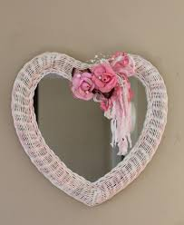 Shabby Cottage Home Decor Heart Shaped Wicker Mirror Nursery Decor Nursery Mirror Shabby