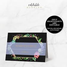 black and gold flower place card template 3 5x2 5 instant