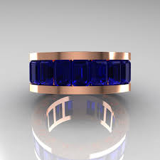 mens blue wedding bands mens modern 10k gold blue sapphire channel cluster infinity