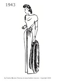 costume history silhouette dresses 1940s free line drawings 1942