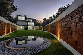 stone wall design for extraordinary futuristic residence design