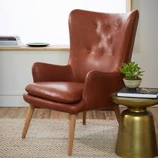 Leather Wingback Chair Niels Leather Wing Chair West Elm
