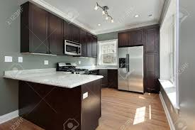 kitchen in remodeled condominium unit mahogany cabinetry stock