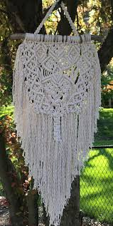 2292 best macrame images on pinterest macrame knots macrame medium size wall decor woven wall hanging weaving fiber art retro interior decor handmade home decor driftwood cotton rope