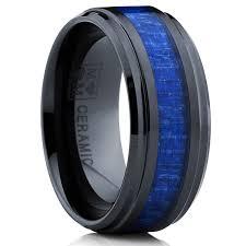 carbon fiber wedding band oliveti black ceramic ring wedding band with blue carbon fiber