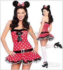 Minnie Mouse Womens Halloween Costume Womens Halloween Girls Minnie Red Mouse Fancy Wrap Dress