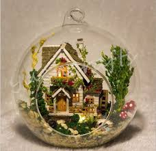 forest home fairy garden terrarium with led lamp creative glass