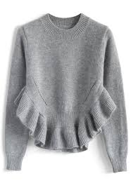 unique sweaters adorable frilling hemline sweater in grey retro and