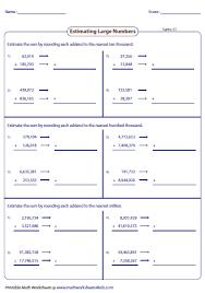 estimating sums u0026 differences worksheets