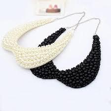 pearl bead necklace images Black white pearls beaded choker necklaces miraj international llc jpg