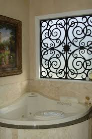 Bathroom Bathroom With Jacuzzi And Bathroom With Corner Jacuzzi And Wrought Iron Window Decorative