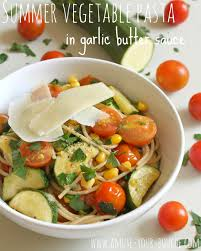 summer vegetable pasta in garlic butter sauce amuse your bouche