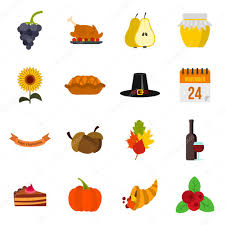 thanksgiving icons set flat style stock vector ylivdesign