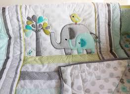 Green Elephant Crib Bedding Baby Crib Bedding Set Embroidery 3d Elephant Bird 8 Pieces Baby