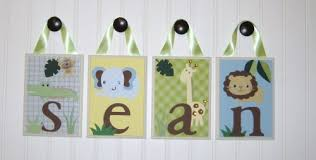 personalized name nursery wood hanging letters zoofari baby lambs