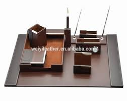 Desk Organizer Leather Luxury Popular Handmade Custom Desktop Sets Desk Organizer Leather