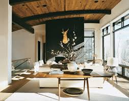 cabin themed living room gold metal chrome shade chandelier