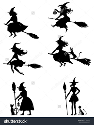 margarita silhouette halloween witch flying on a broomstick vector graphics silhouette