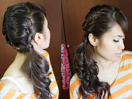 black hair styles for for side frence braids chic side ponytail french braid hairstyle for long hair tutorial