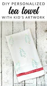 personalized tea towels with kids artwork for a handmade gift