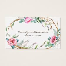 floral business cards pink watercolor bohemian floral wreath