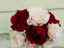 artificial peonies silk peony winter wedding bouquet cranberry and blush