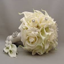 silk flowers for wedding silk flower bridal bouquet stephanotis real touch roses calla
