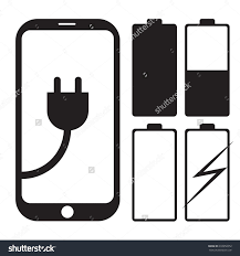 mobile phone icon with charger and battery symbol vector save to a
