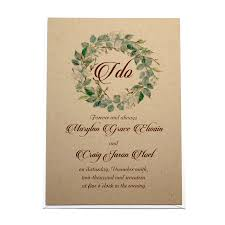 rustic invitations rustic greenery wreath wedding invitation citrine designs