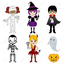 cute halloween monsters isolated on white royalty free cliparts
