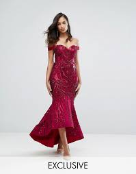 bariano dresses bariano bariano shoulder sweetheart sequin maxi dress