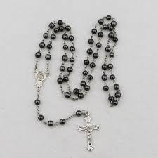 catholic rosary necklace hematite cross rosary necklace catholic rosary jesus