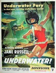 1955 underwater vintage movie poster print jane russell howard