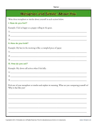 metaphor and simile about you figurative language worksheets