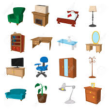 furniture cartoon icons set illustrations of living room and