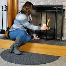 andiron 4 u0027 half round black wool fireplace rug northline express