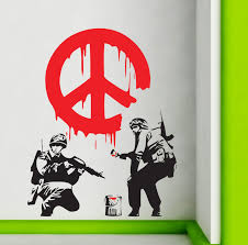 banksy wall stickers ebay banksy wall stickers cnd peace sign soldiers art decals