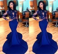 elegant royal blue african 2017 prom dresses long sleeve o neck