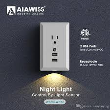 receptacle cover night light led night light with automatic dusk to dawn sensor and 5v 2 4a dual